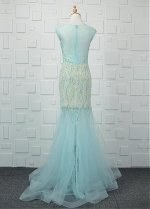 Winsome Lace & Tulle Jewel Neckline Floor-length Mermaid Evening Dresses With Beadings