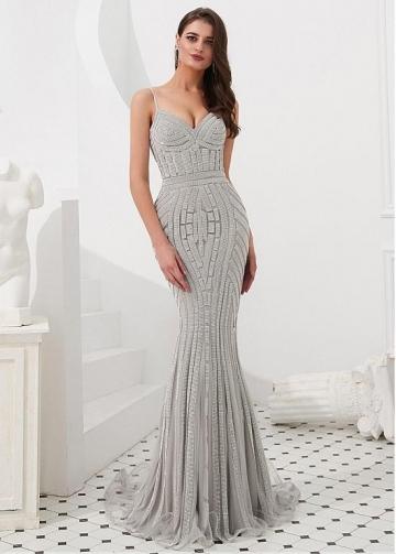 Brilliant Tulle Spaghetti Straps Neckline Floor-length Mermaid Evening Dresses With Rhinestones