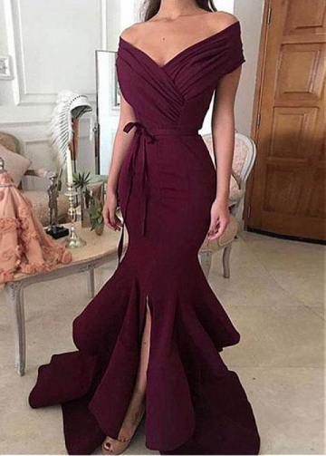 Alluring Burgundy Off-the-shoulder Neckline Floor-length Mermaid Evening Dresses With Belt