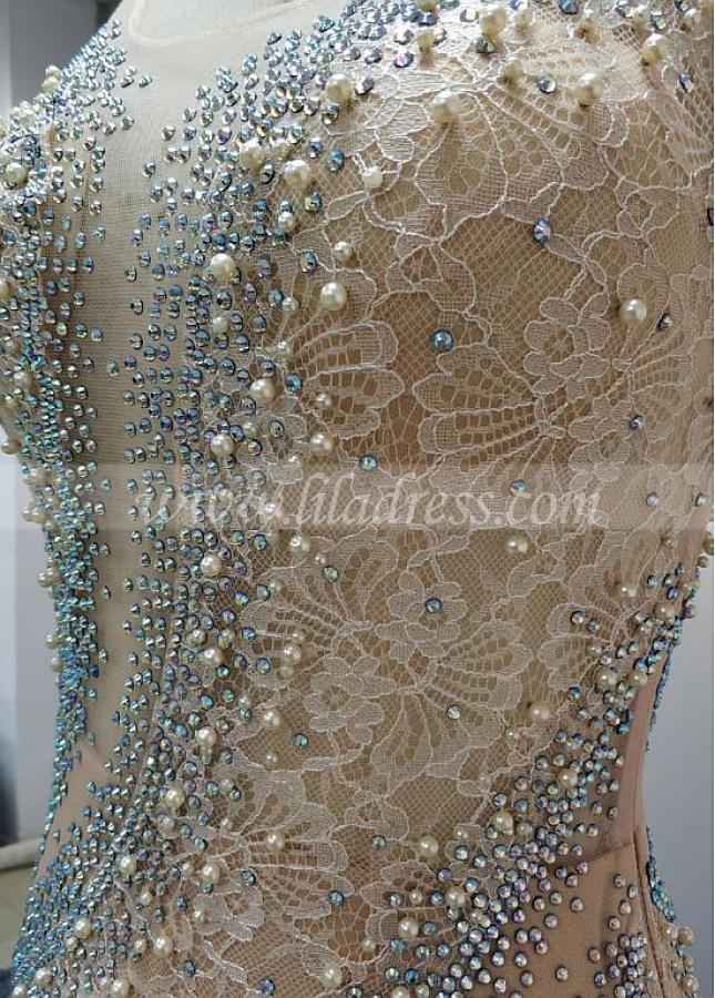 Wonderful Lace & Tulle Scoop Neckline Floor-length Mermaid Evening Dresses With Rhinestones & Imitation Pearls