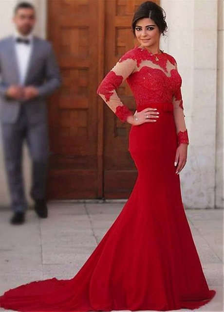 Fantastic Tulle & Chiffon Jewel Neckline Floor-length Mermaid Evening Dresses With Sleeves