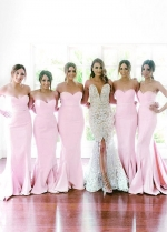 Pink Sweetheart Neckline Mermaid Bridesmaid Dresses With Sweep Train