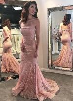 Alluring Lace Strapless Neckline Floor-length Mermaid Evening Dresses
