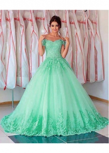 Elegant Tulle Off-the-shoulder Neckline Floor-length A-line Prom Dresses With Lace Appliques