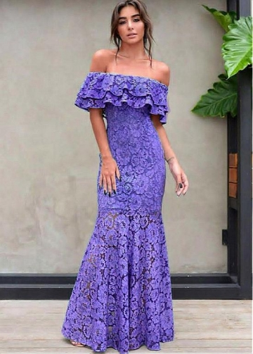 Gorgeous Lace Off-the-shoulder Neckline Floor-length Mermaid Evening Dresses