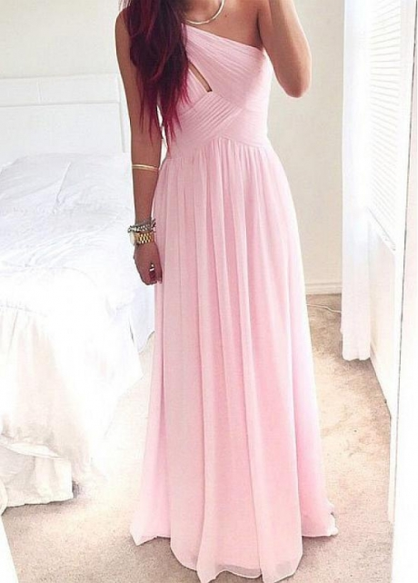 Beautiful Chiffon One Shoulder Neckline A-line Bridesmaid Dresses