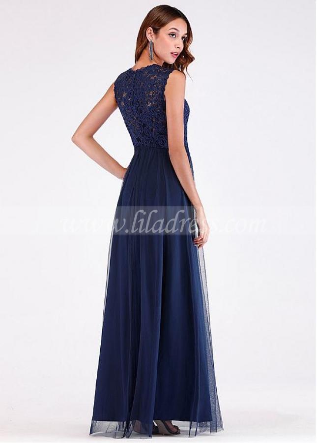 Fantastic Lace & Tulle V-neck Neckline Floor-length A-line Evening Dress