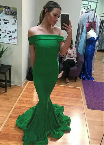 Delicate Spandex Off-the-shoulder Neckline Floor-length Mermaid Evening Dress