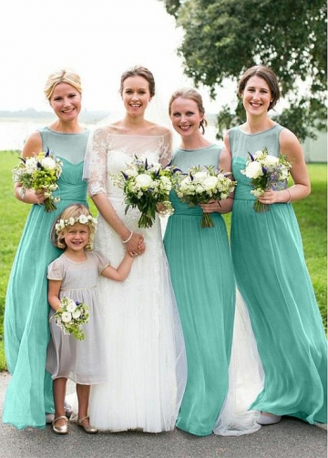 Charming Chiffon Jewel Neckline A-line Bridesmaid Dresses