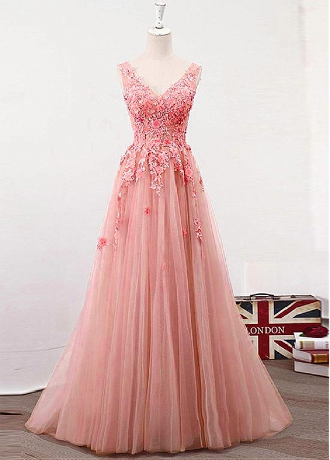 Exciting Tulle V-neck Neckline Floor-length A-line Prom Dress With Lace Appliques & Handmade Flowers & Beadings