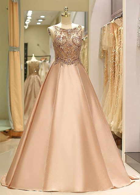 Fashionable Satin Bateau Neckline Floor-length A-line Prom Dress With Beadings