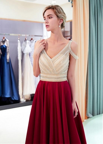 Stunning Tulle & Satin V-neck Neckline A-line Prom Dress With Beadings