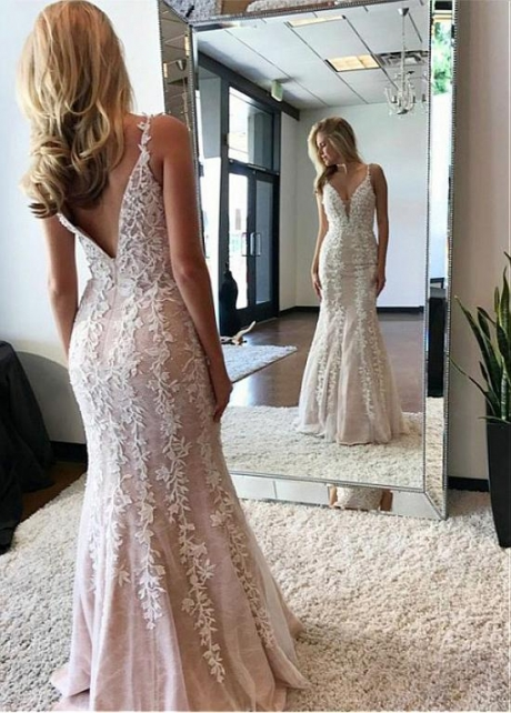 Sweet Tulle & Lace Spaghetti Straps Neckline Mermaid Prom Dress With Beaded Lace Appliques