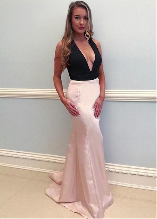 Beautiful Two Tone V-neck Neckline Sheath/Column Prom Dress