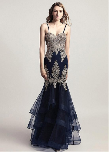 Alluring Tulle Spaghetti Straps Neckline Mermaid Evening Dress With Beaded Lace Appliques
