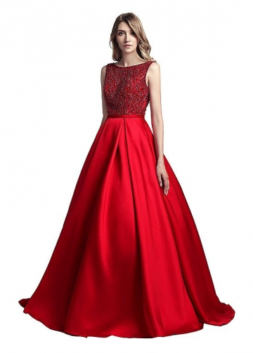 Glamorous Tulle & Taffeta Bateau Neckline Floor-length A-line Evening Dresses With Beadings
