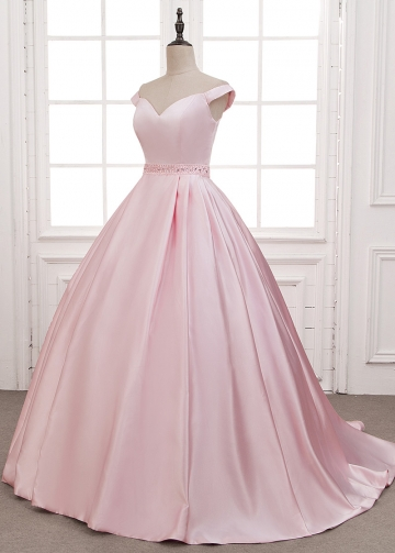 Wonderful Satin Off-the-shoulder Neckline A-Line Prom Dresses With Beadings & Pockets