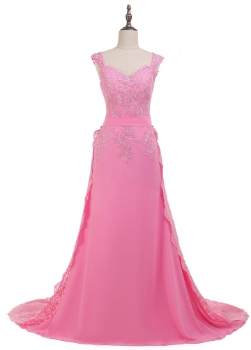 Fantastic Chiffon V-neck Neckline Sheath/Column Formal Dress With Lace Appliques & Detachable Train