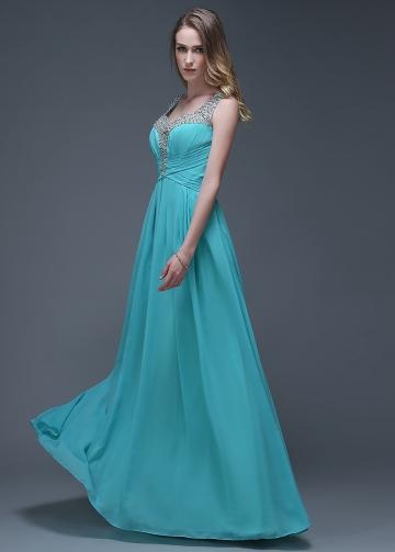 Glamorous Chiffon V-neck Neckline Full-length A-line Prom Dresses