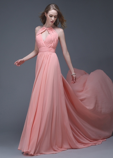 Wonderful Chiffon Jewel Neckline Full-length A-line Evening Dresses