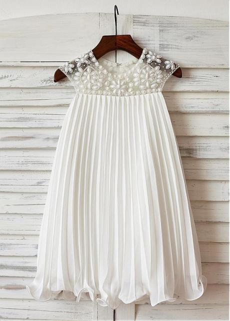Elegant Chiffon & Tulle Jewel Neckline A-line Flower Girl Dresses With Beadings