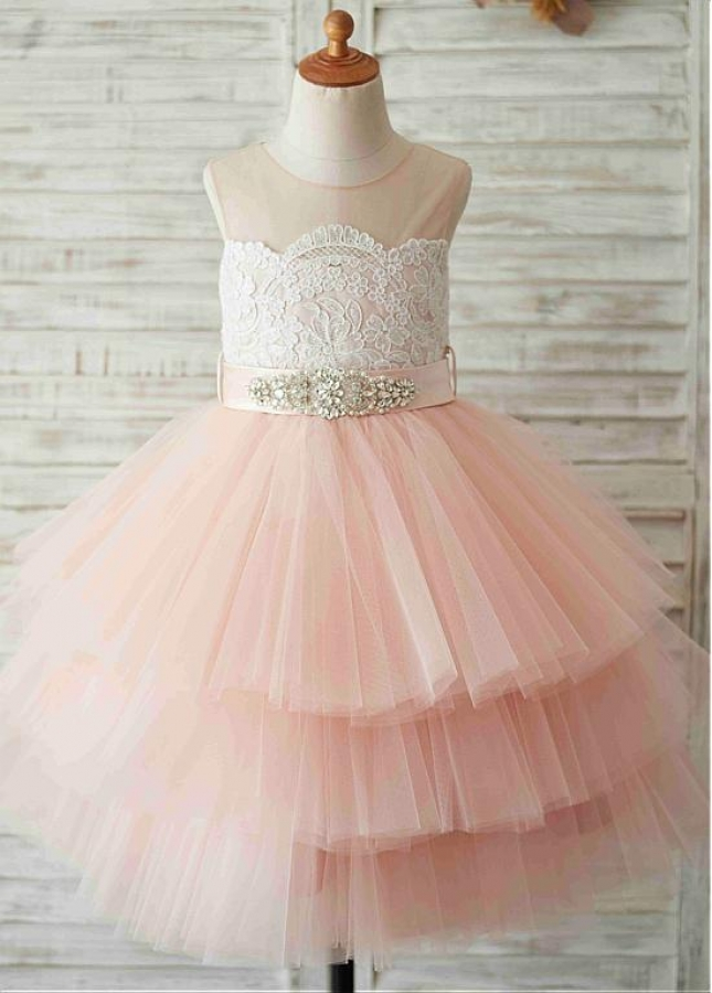 Unique Tulle & Satin Jewel Neckline Tea-length Ball Gown Flower Girl Dresses With Belt & Beadings