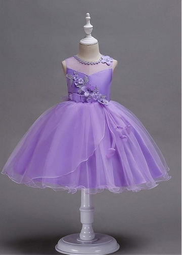 Marvelous Tulle & Satin Jewel Neckline Ball Gown Flower Girl Dress With 3D Flowers & Beadings