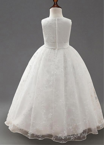 Delicate Lace Jewel Neckline Ball Gown Flower Girl Dresses With Belt