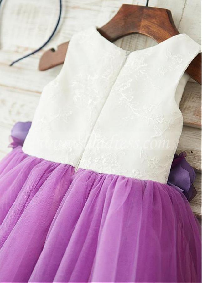 Stunning Lace & Tulle Scoop Neckline Knee-length Ball Gown Flower Girl Dresses
