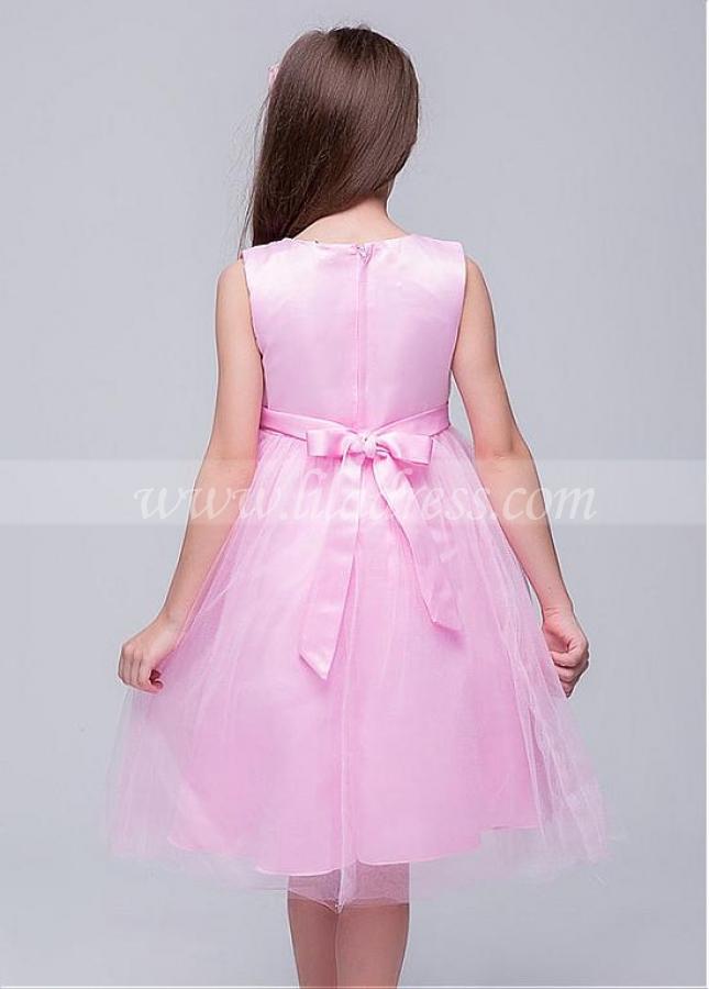 Angelic Light Blue Jewel Neckline A-line Flower Girl Dresses With Belt