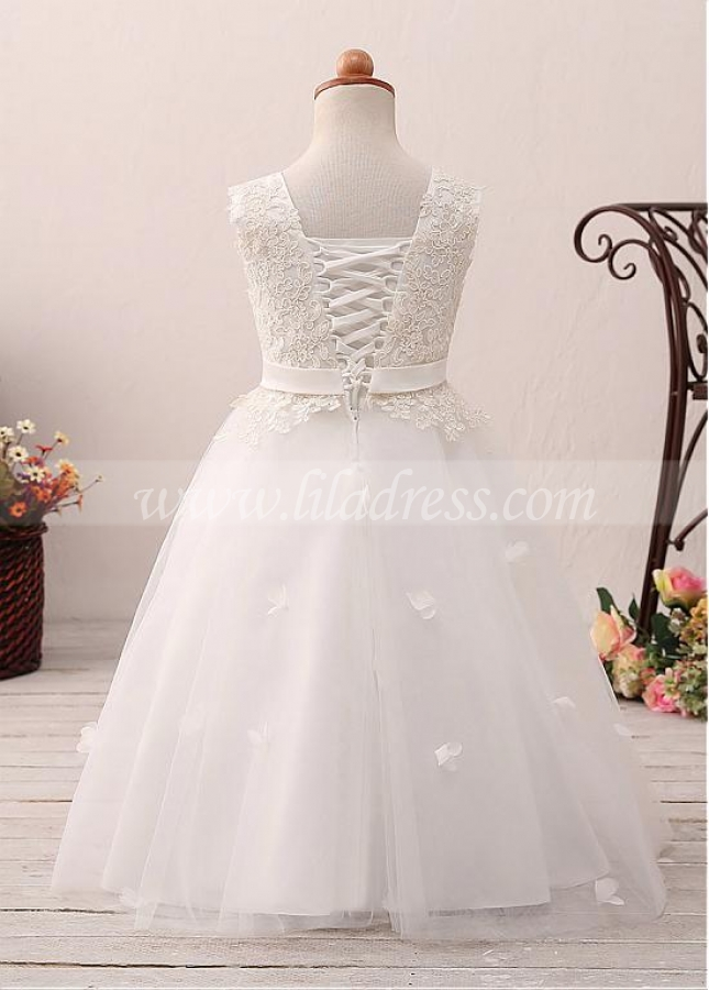 Beautiful Tulle Jewel Neckline A-line Flower Girl Dress With Lace Appliques & Handmade Flowers & Belt