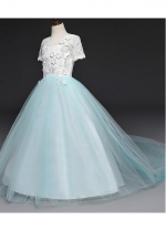 Stunning Tulle & Lace Jewel Neckline Ball Gown Flower Girl Dresses With Handmade Flowers