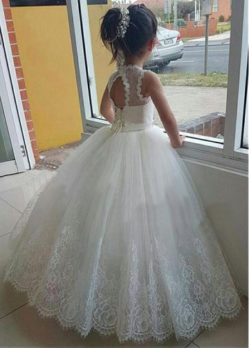 Fascinating Tulle & Lace Jewel Neckline Ball Gown Flower Girl Dresses With Lace Appliques & Beadings