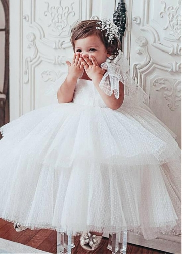 Pretty Polka Dot Tulle Square Neckline Ball Gown Flower Girl Dresses With Straps