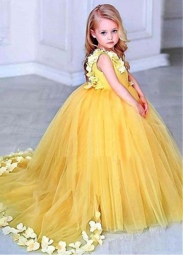 Marvelous Satin & Tulle Scoop Neckline Ball Gown Flower Girl Dress With Handmade Flowers
