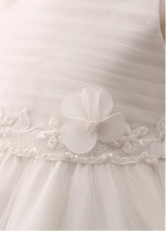 Exquisite Tulle Jewel Neckline A-line Flower Girl Dress With Lace Appliques & Handmade Flowers & Belt