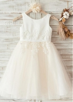 Excellent Tulle & Satin Scoop Neckline A-line Flower Girl Dresses With Lace Appliques & Beadings
