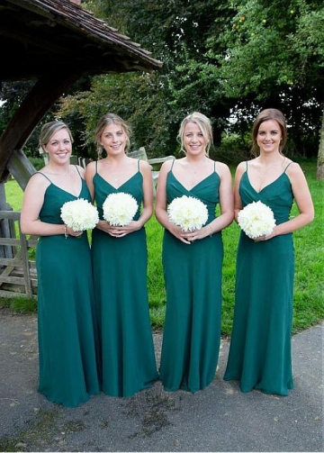 Elegant Chiffon Spaghetti Straps Neckline Full-length Sheath/Column Bridesmaid Dresses