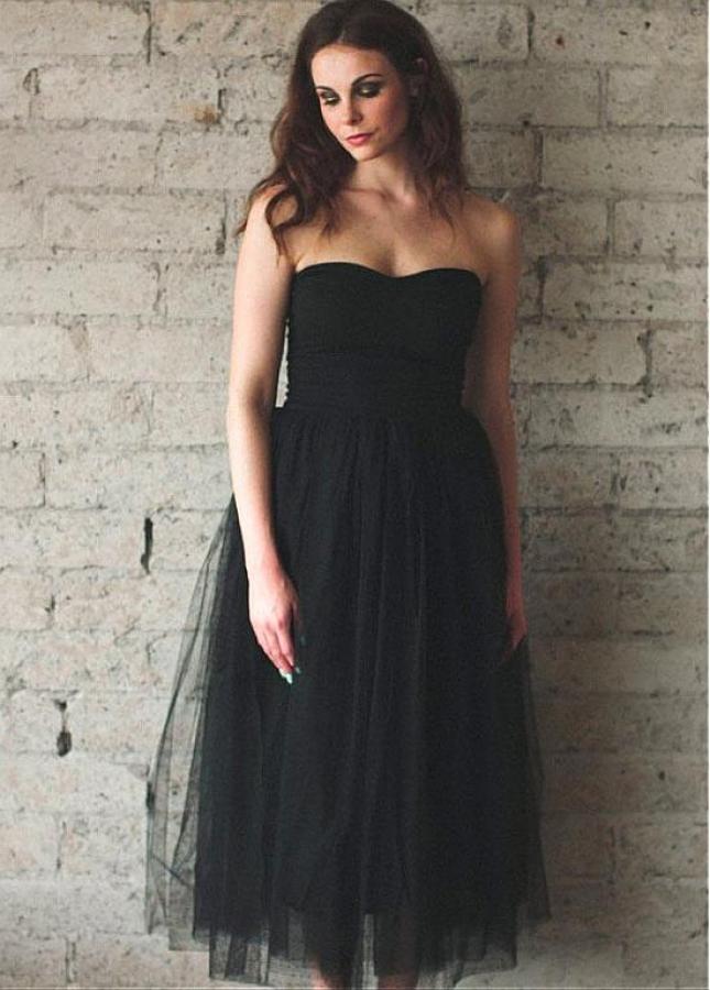 Wonderful Tulle & Satin Sweetheart Neckline Tea-length A-line Bridesmaid Dresses