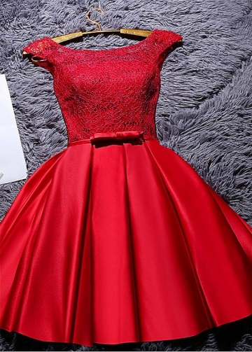 Fabulous Satin & Lace Jewel Neckline Short A-line Homecoming Dresses