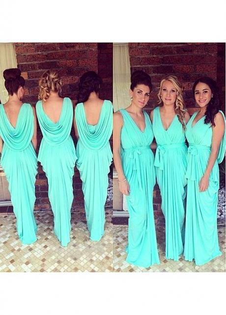 Delicate Jersey V-neck Neckline Sheath/Column Bridesmaid Dresses With Belt