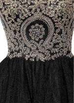 Black Tulle Sweetheart Neckline A-line Homecoming Dresses with Lace Appliques