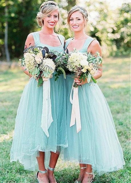 Pretty Satin & Tulle Suqare Neckline Hi-lo A-line Bridesmaid Dress With Belt