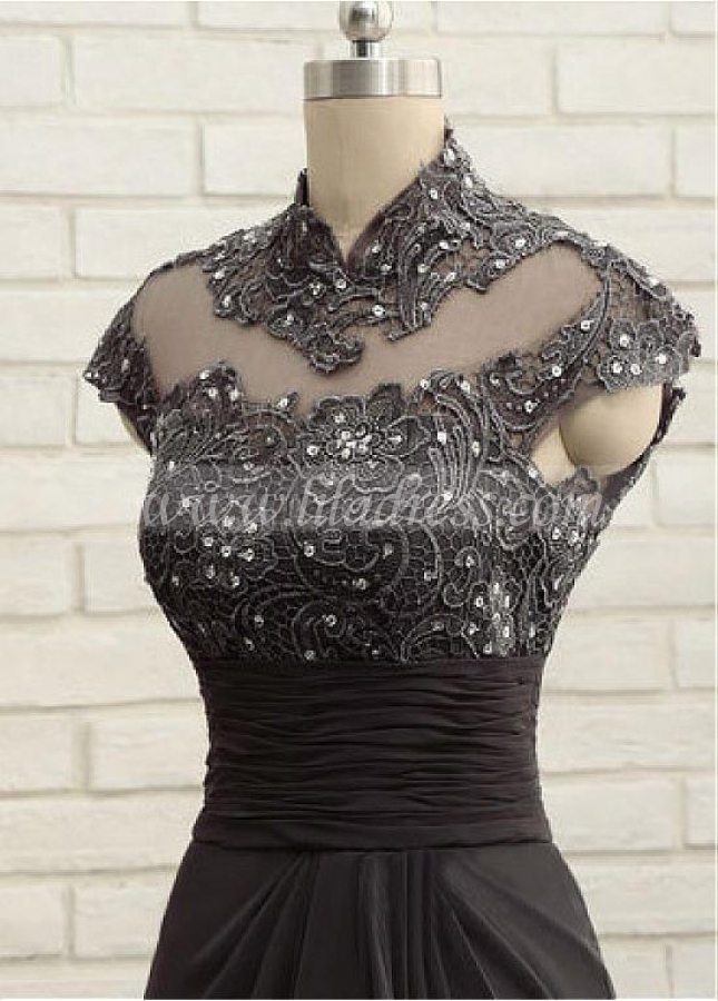 Romantic Chiffon High Collar Floor-length Mother Of The Bride Dresses With Lace Appliques