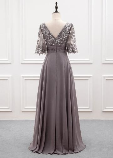 Wonderful Chiffon Bateau Neckline A-line Mother Of The Bride Dress With Sequin Lace Appliques
