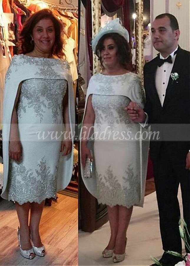 Out-standing Acetate Satin Bateau Neckline Tea-length Sheath/Column Mother Of The Bride Dresses With Beaded Lace Appliques & Shawl