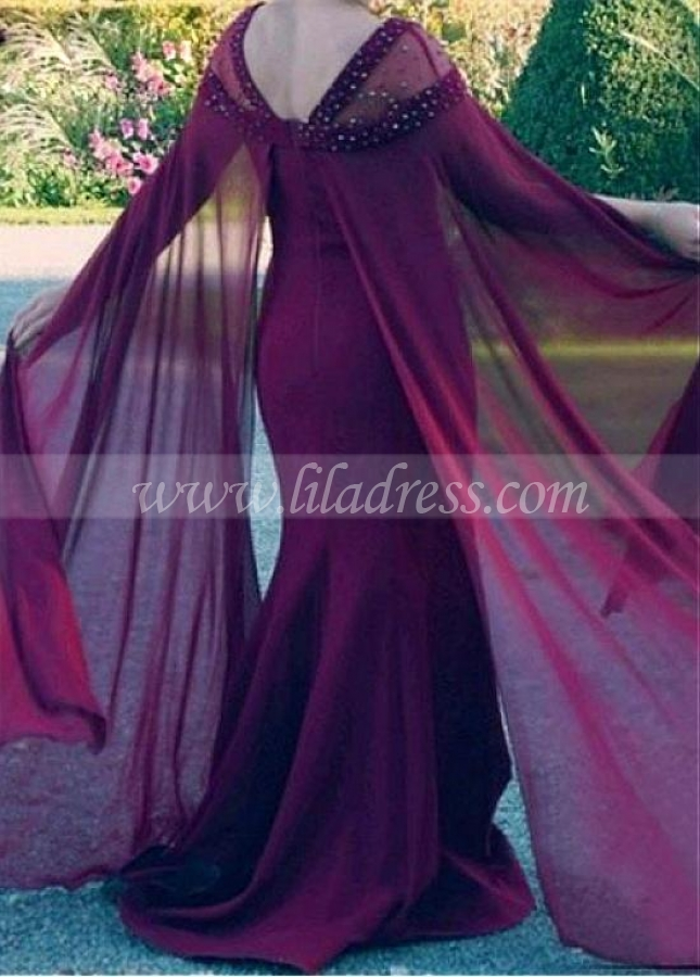 Fashionable Chiffon Square Neckline Mermaid Mother Of The Bride Dress With Beadings
