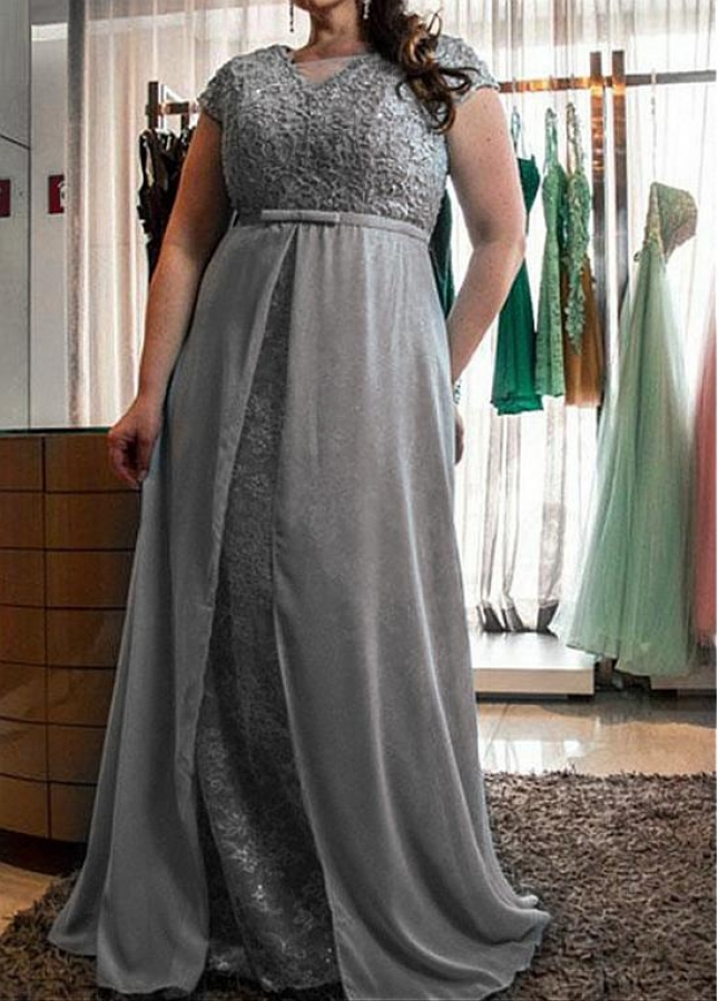Gorgeous Lace & Chiffon V-neck Neckline A-line Mother Of The Bride Dresses With Beadings & Belt