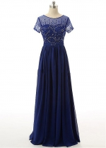 Gorgeous Tulle & Chiffon Jewel Neckline A-line Mother Of The Bride Dresses With Beadings
