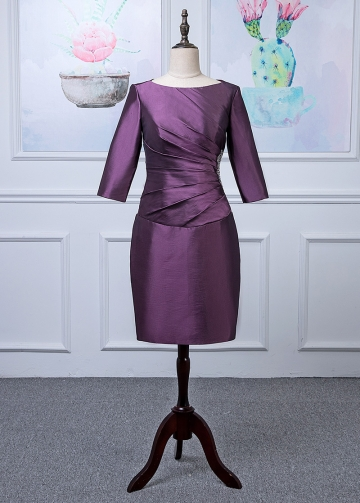 Modest Taffeta Bateau Neckline Knee-length Sheath/Column Mother Of The Bride Dress With Beadings
